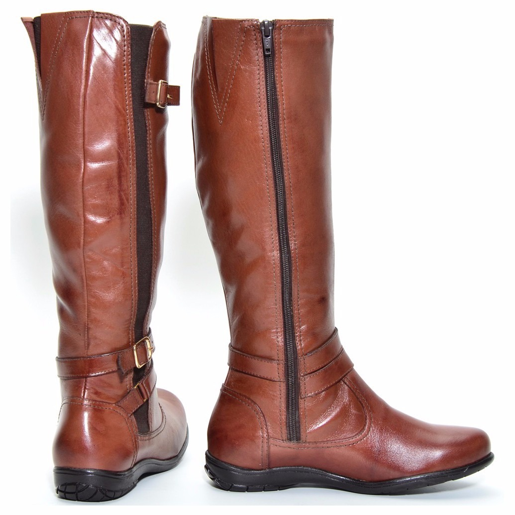 7ebc97ca5 coturno feminino montaria bota couro ziper cano alto 9304. Carregando zoom.