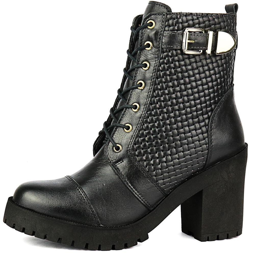 48ad574218 coturno feminino tratorado bota cano medio em couro. Carregando zoom.