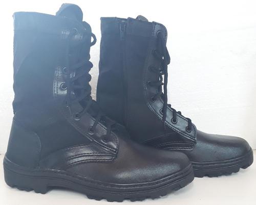 coturno militar com ziper couro extra leve