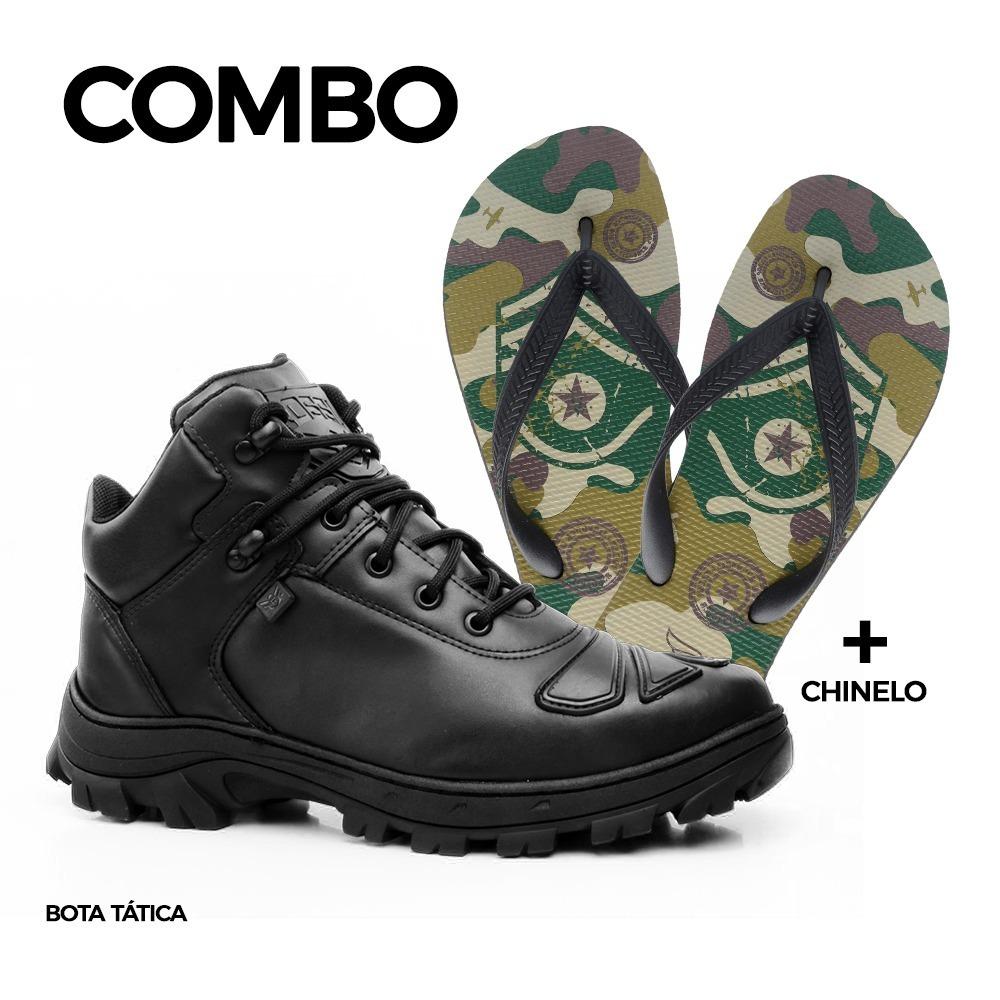 93e9456eb3 coturno militar masculino rossi kit com chinelo ultra rubber. Carregando  zoom.