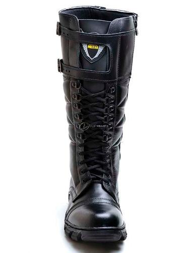 coturno militar/bota motociclista/policia rodoviária - couro