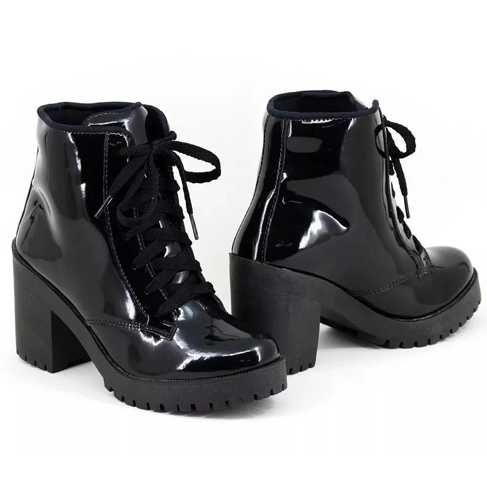 4dfafddf6c coturno preto verniz bota feminina promoção. Carregando zoom.