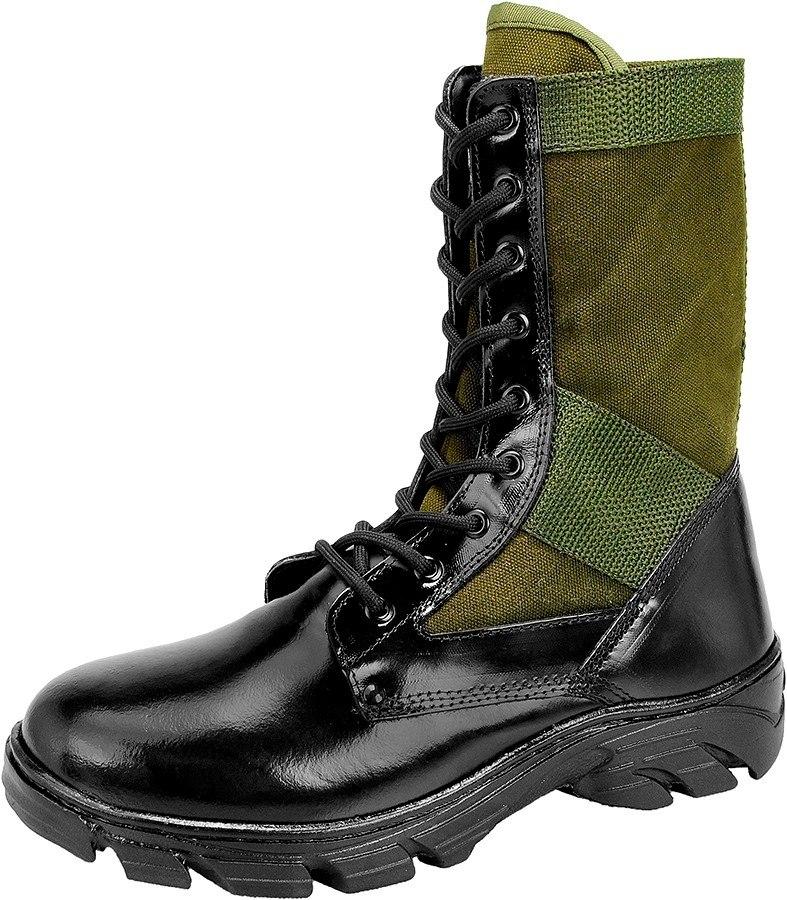 25ccae6a7 coturno tático militar,couro e lona verde selva, c/ zíper. Carregando zoom.