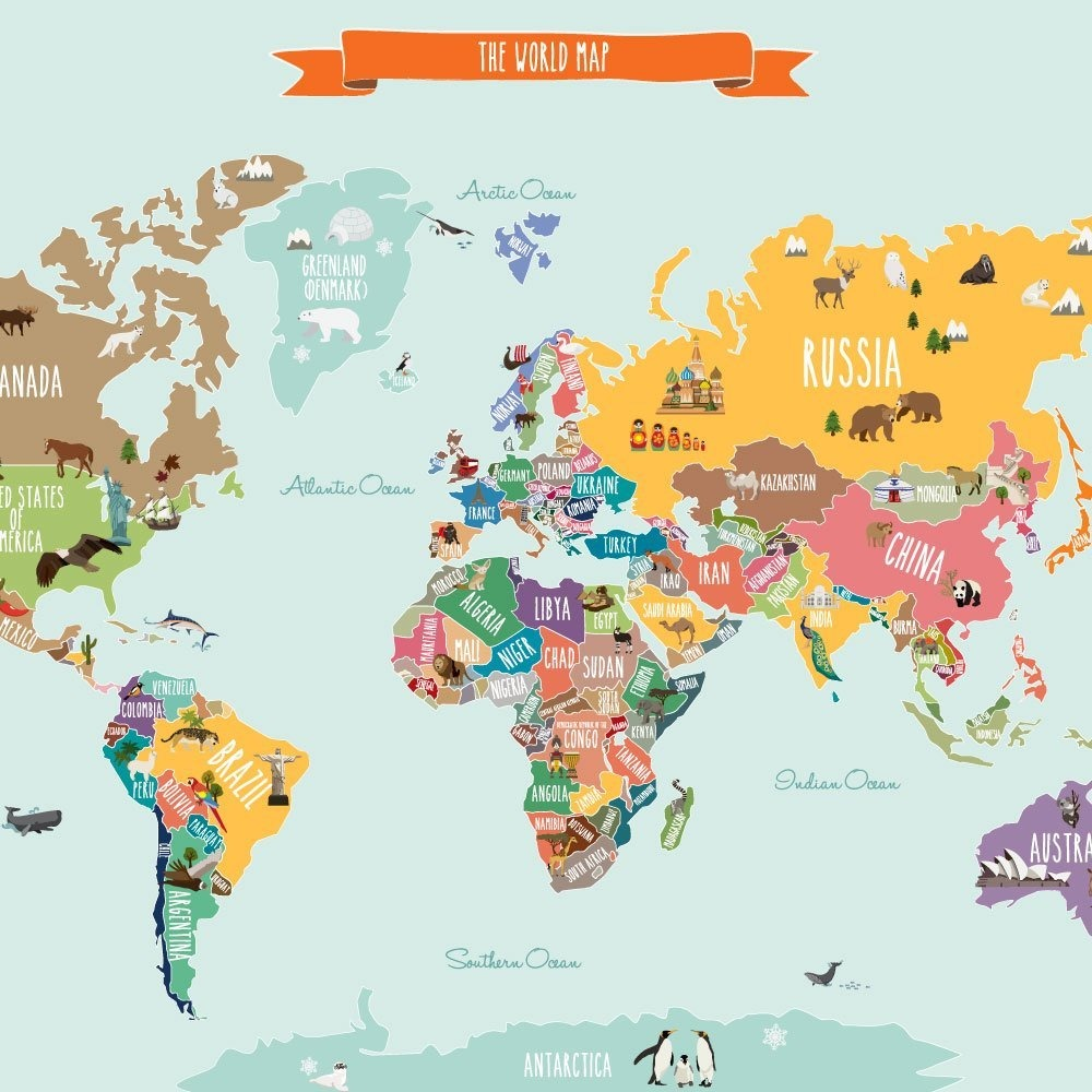Countries of the world map poster wall sticker small 35 cargando zoom gumiabroncs Image collections