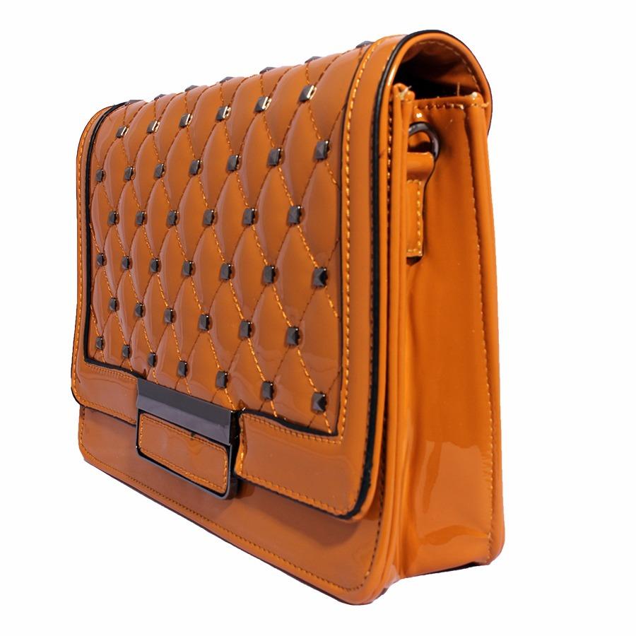 d4dab89a2 Carregando zoom... bolsa couro quadrada grande tachas alça de corrente  clutch