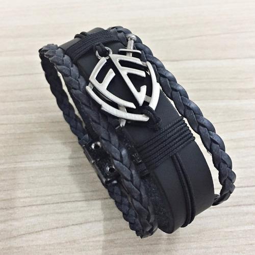 couro bracelete pulseira masculina