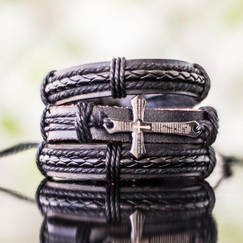 couro braceletes pulseiras masculinas