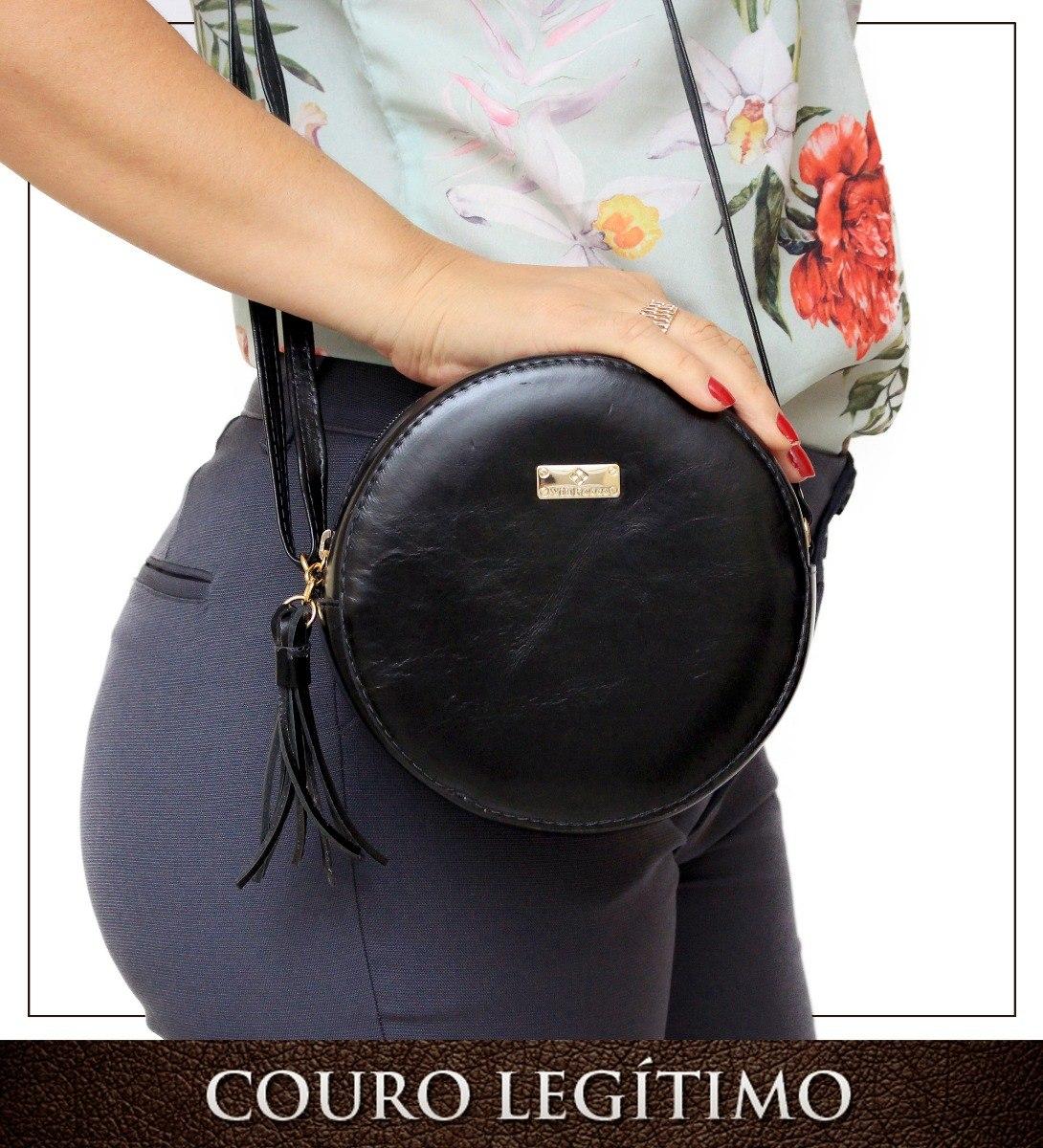 71ad9d481 Bolsa Couro Legítimo Feminina Barata Redonda - R$ 121,00 em Mercado ...