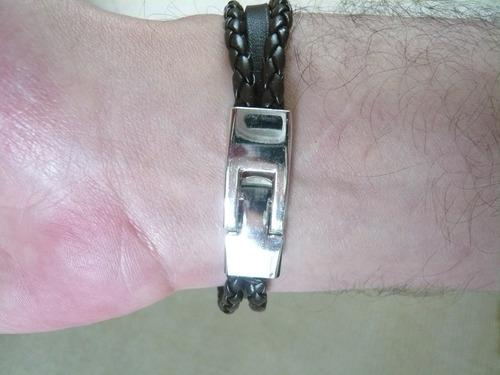 couro masculina pulseira