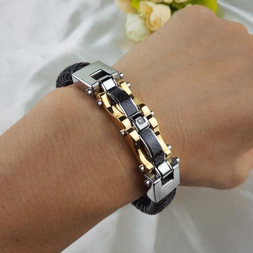 couro ouro pulseira masculina