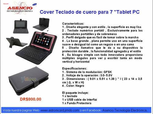 cover teclado de cuero para 7  tablet pc