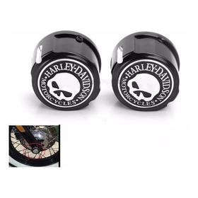 Covers De Eje Delantero Skull Negros Para Harley Davidson