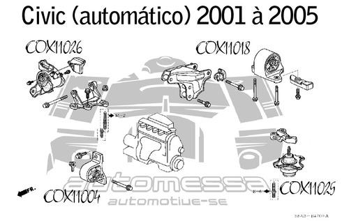 coxim superior lado esquerdo do motor civic 2001 à 2005