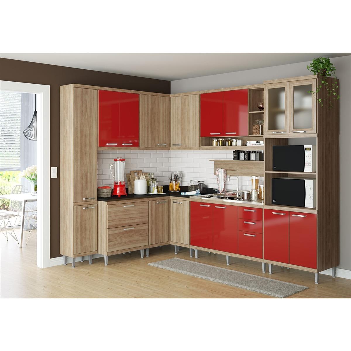 Cozinha 9 M Dulos 16portas 5gvetas Argila Vrmlho Multim Veis R