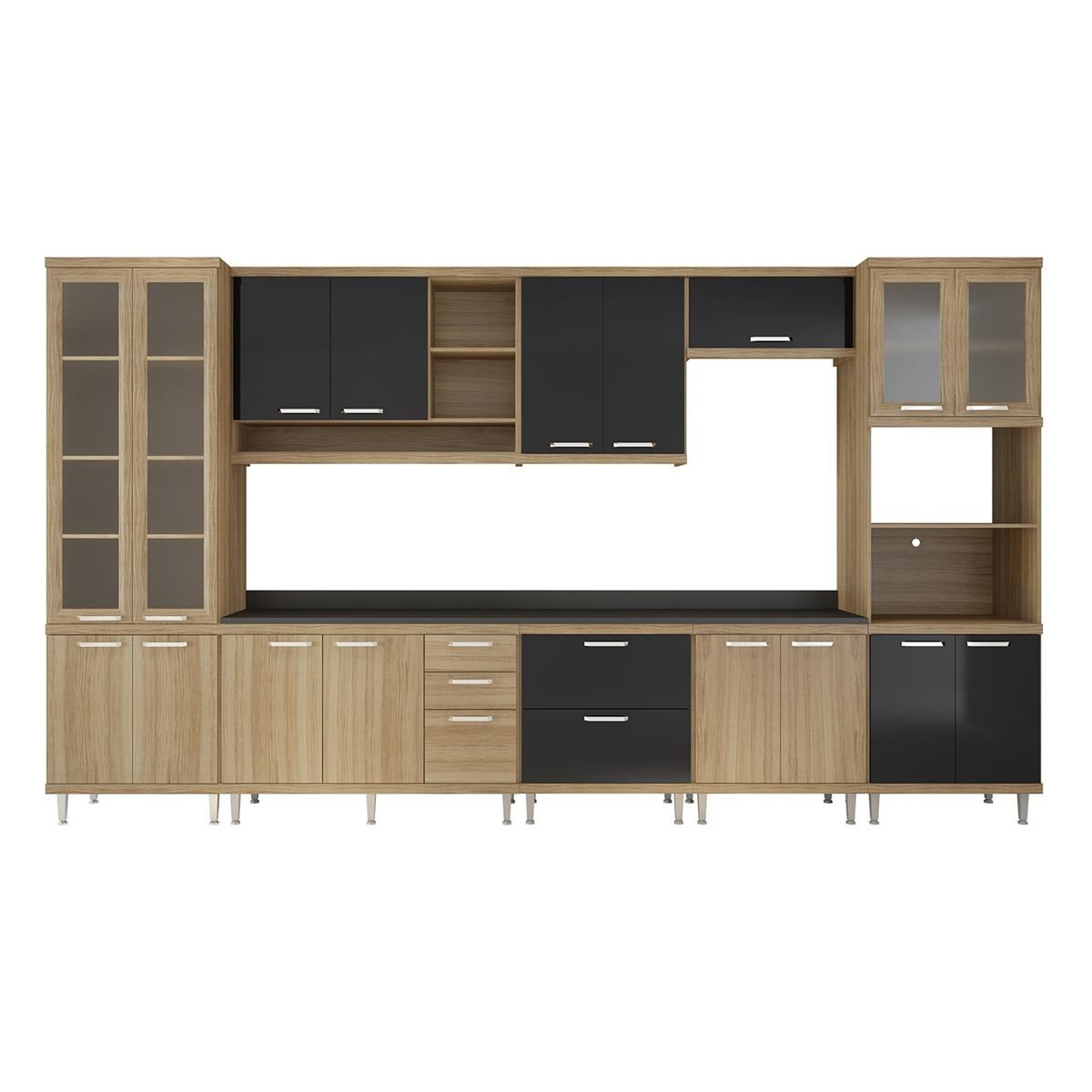 Cozinha 9 M Dulos 17 Portas 5 Gvtas Argila Preto Multim Veis R