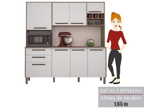 cozinha ágata com 8 portas nogal/branco  lc móveis