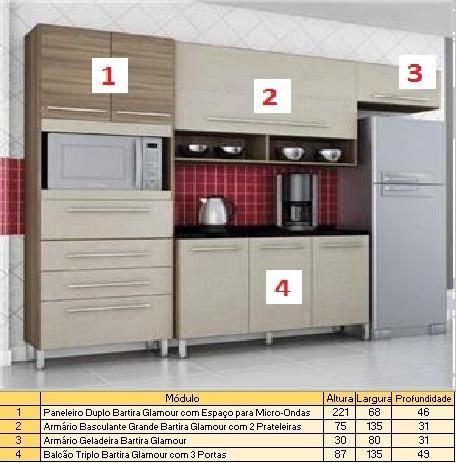 Cozinha Armario Bartira Glamour 4 Pecas Madeirado R 950 00 Em
