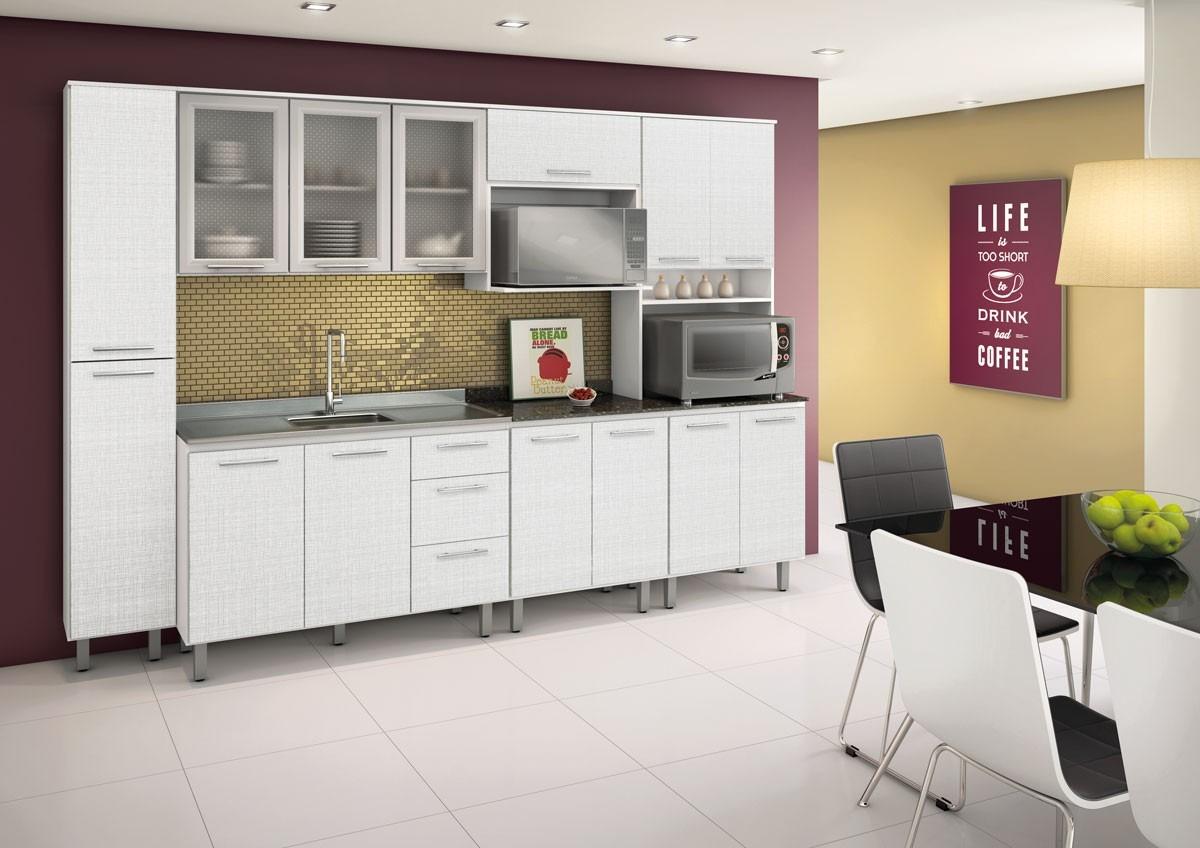 Cozinha Audácia Em Mdf Nicioli Balcão Armário Paneleiro  R$ 1367,00 em Merc # Armario De Cozinha Simples Branco