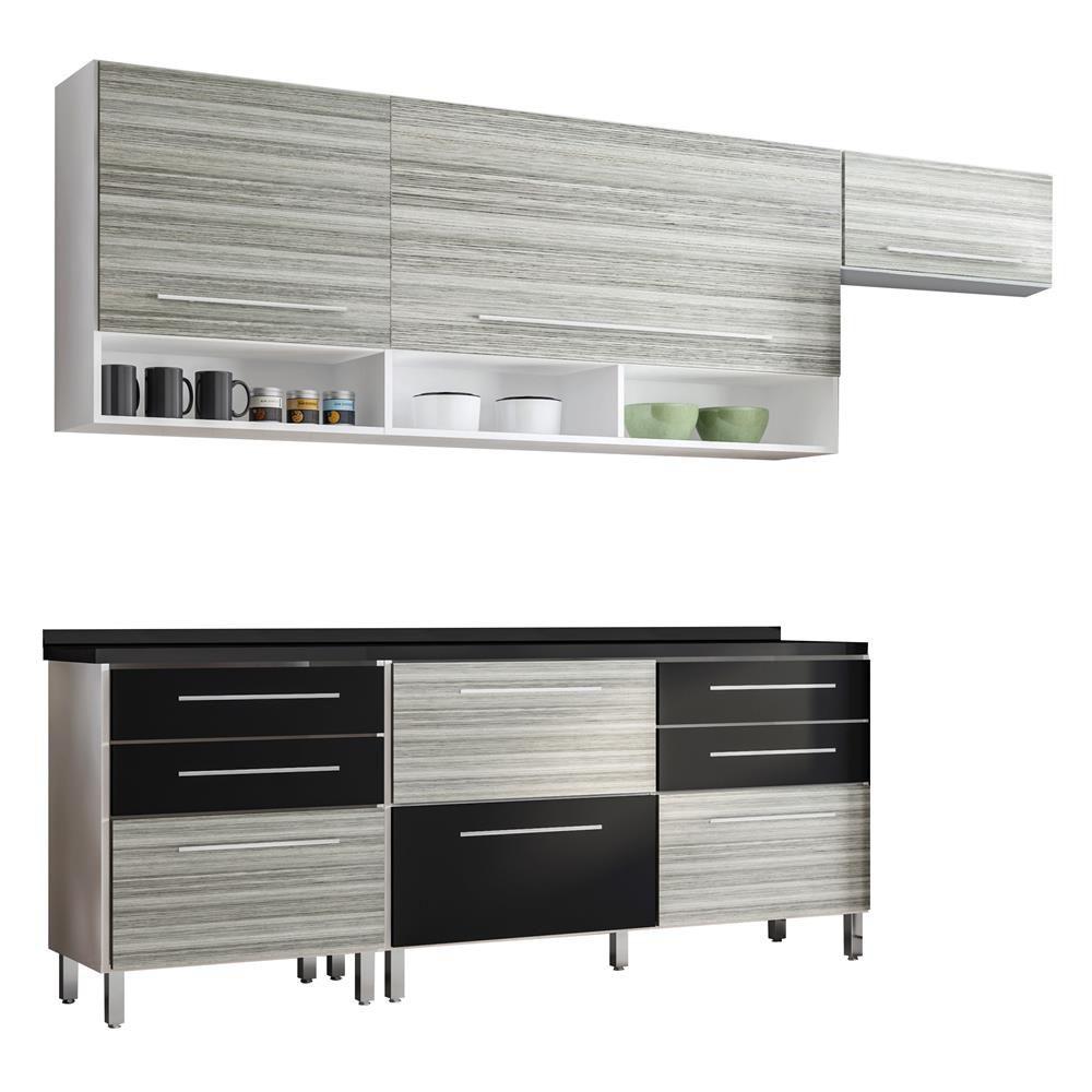 Cozinha Bartira Glamour 3 Portas 8 Gavetas Cinza R 1 373 90 Em