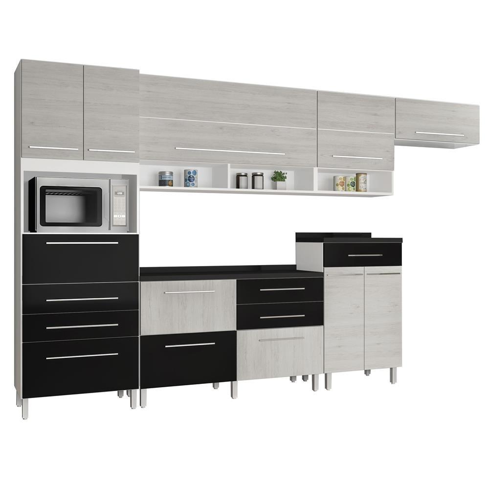 Cozinha Bartira Glamour 8 Portas 9 Gavetas Cinza R 1 781 35 Em