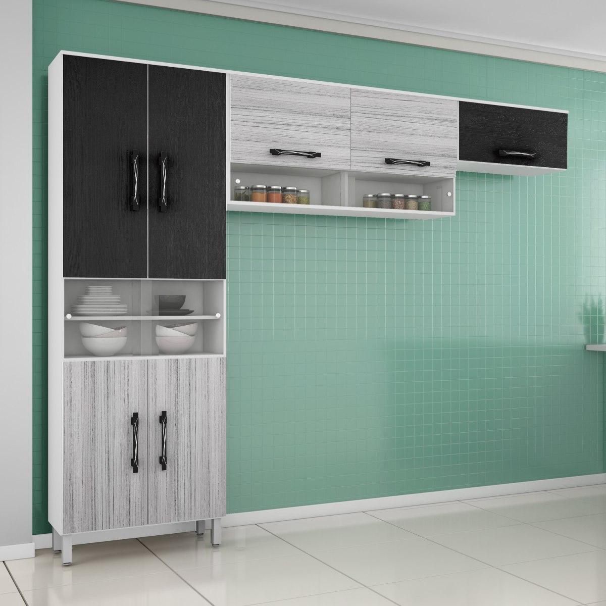 Cozinha Compacta 3 Pe As 11 Portas Em Mdf Vidro Giwt R 345 50 Em
