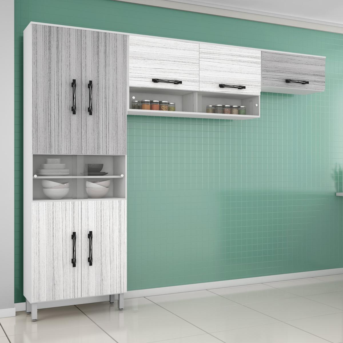 Cozinha Compacta 3 Pe As 11 Portas Em Mdf Vidro Gjwt R 355 10 Em