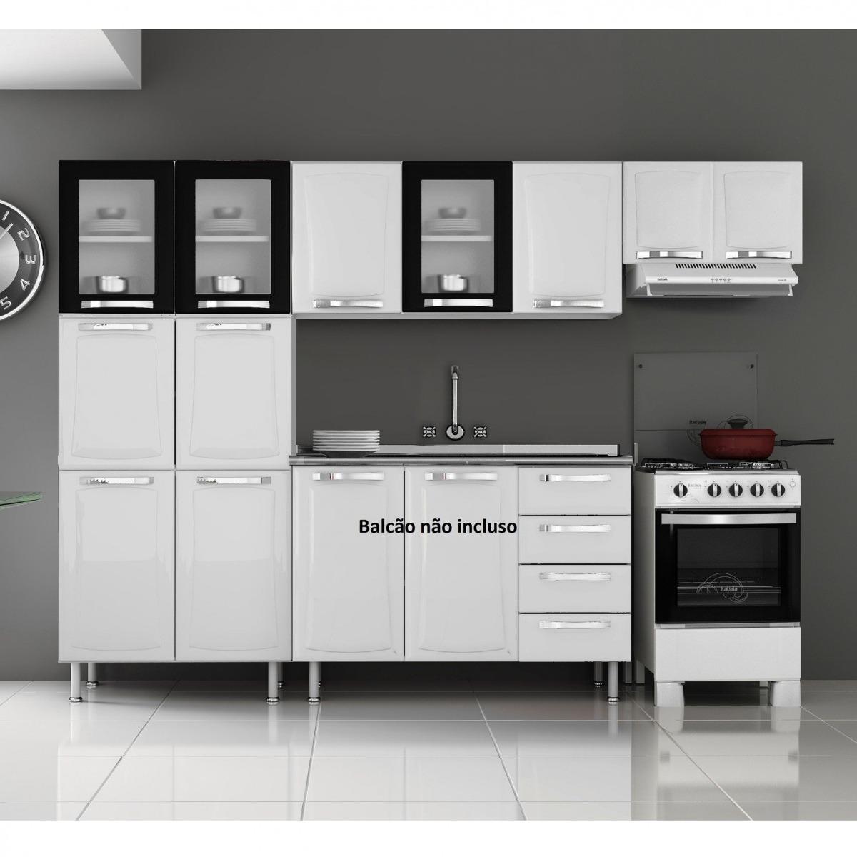 Cozinha Compacta 3 Pe As 3 Portas Em Vidro Itanew Fg R 1 039 90