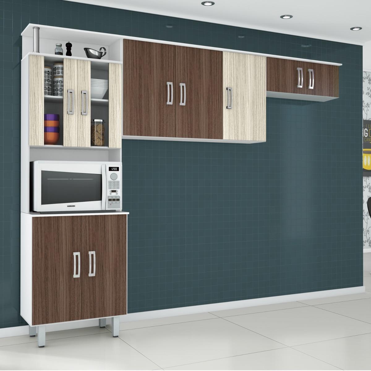 Cozinha Compacta 3 Pe As 9 Portas Em Mdf Vidro Su Bh R 309 90