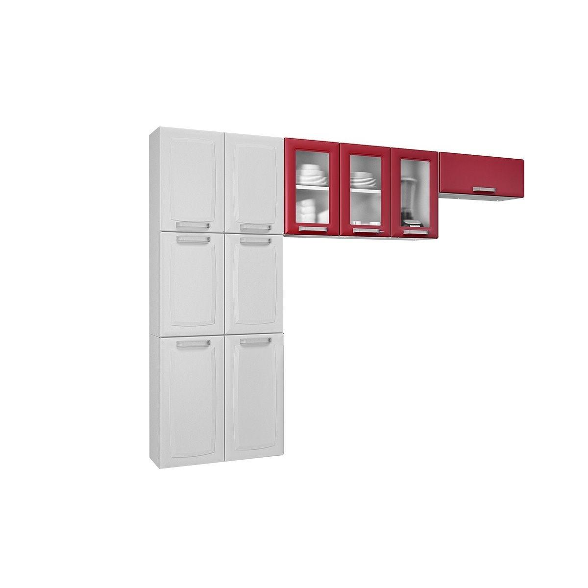 Cozinha Compacta 3 Pe As Com Vidro Itatiaia Luce Branco Verm R