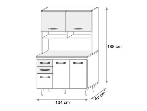 cozinha compacta aline com 5 portas ravello/branco - lc móve