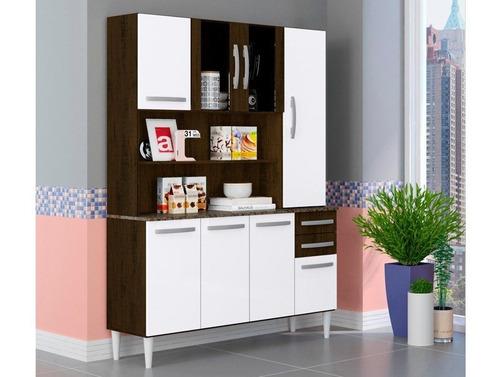 cozinha compacta com 8 portas kamile ravello/branco  - lc mó