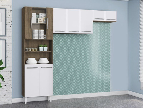 cozinha compacta com 9 portas sheila dakota/branco - lc móve