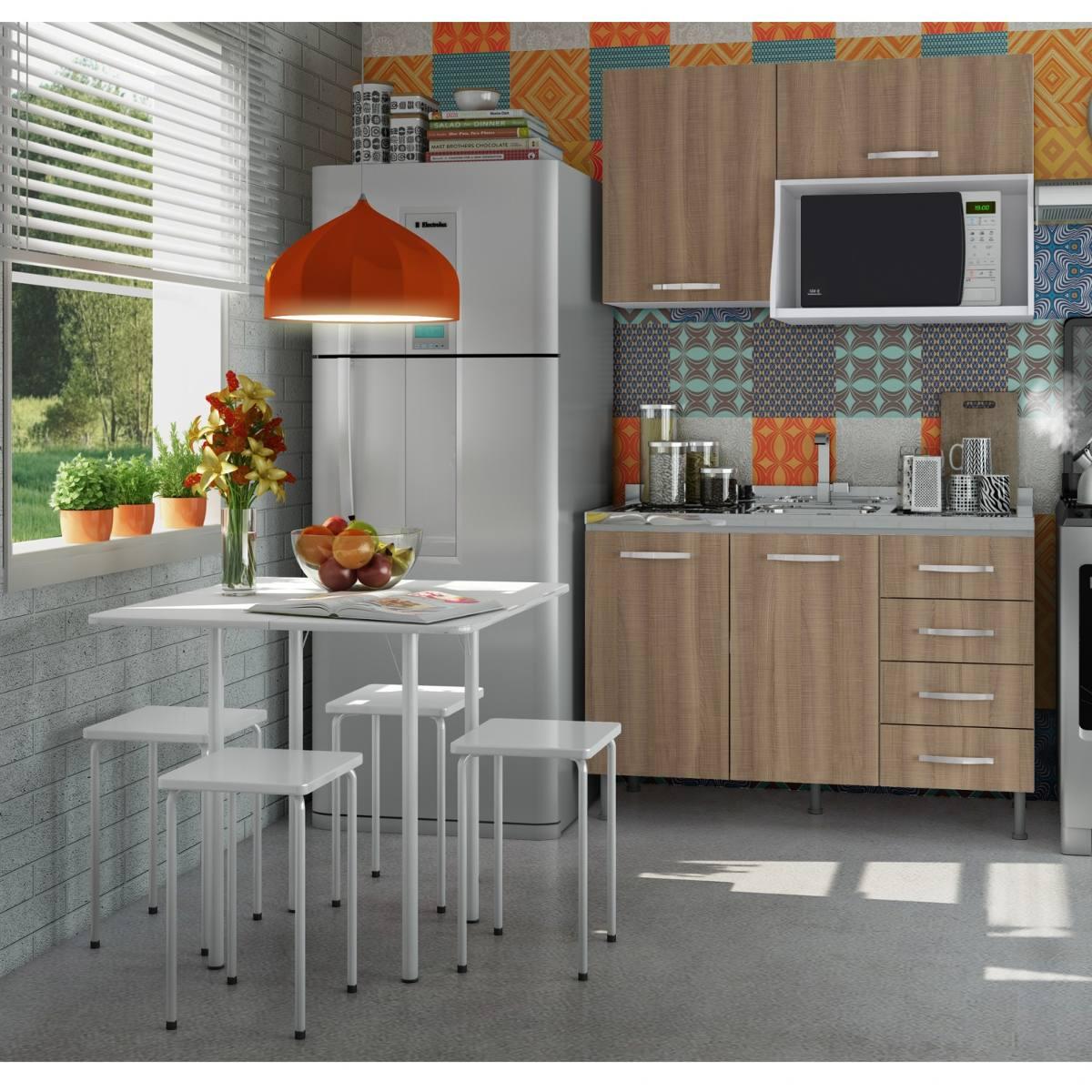 Cozinha Compacta Com Balc O Sem Tampo Mesa E 4 Hd R 719 90 Em  ~ Banqueta Inox Para Cozinha Acozinha Com Cooktop Branco