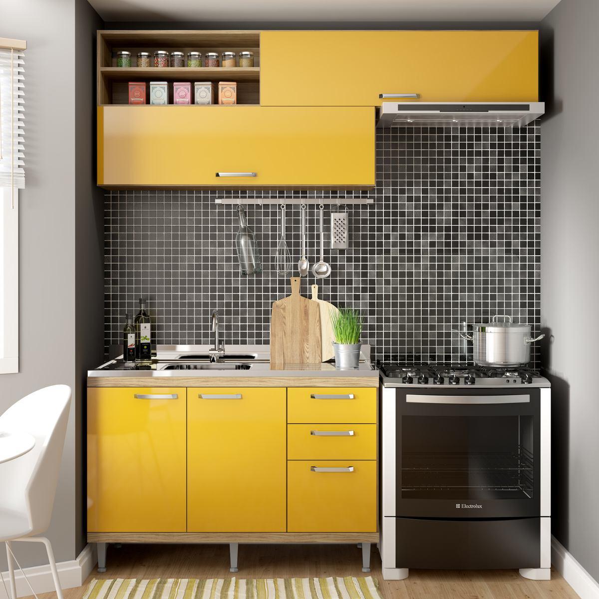 Cozinha Compacta Isis Siena M Veis Argila Amarelo Gema I R 557  ~ Meu Movel De Madeira Cozinha