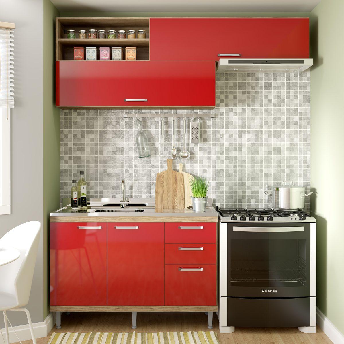 Cozinha Compacta Isis Siena M Veis Argila Vermelho Sca Jwt R 535
