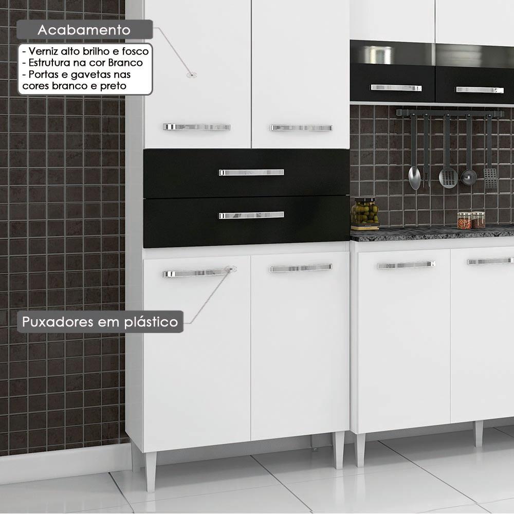 Cozinha Compacta Julia Com Porta De Vidro Paneleiro Duplo Ar R
