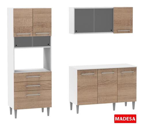 cozinha compacta madesa bella com armário, balcão e tampo