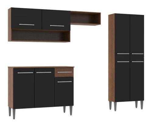 cozinha compacta madesa emilly com armário e balcão
