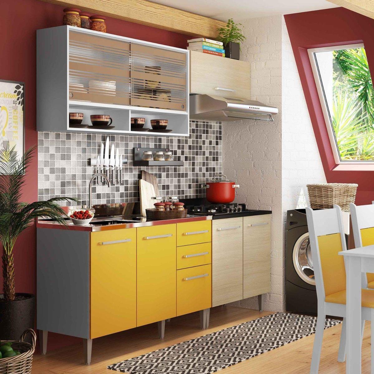 Cozinha Compacta Madesa Glamy Eli Branco Tirol Amarelo R 949 90