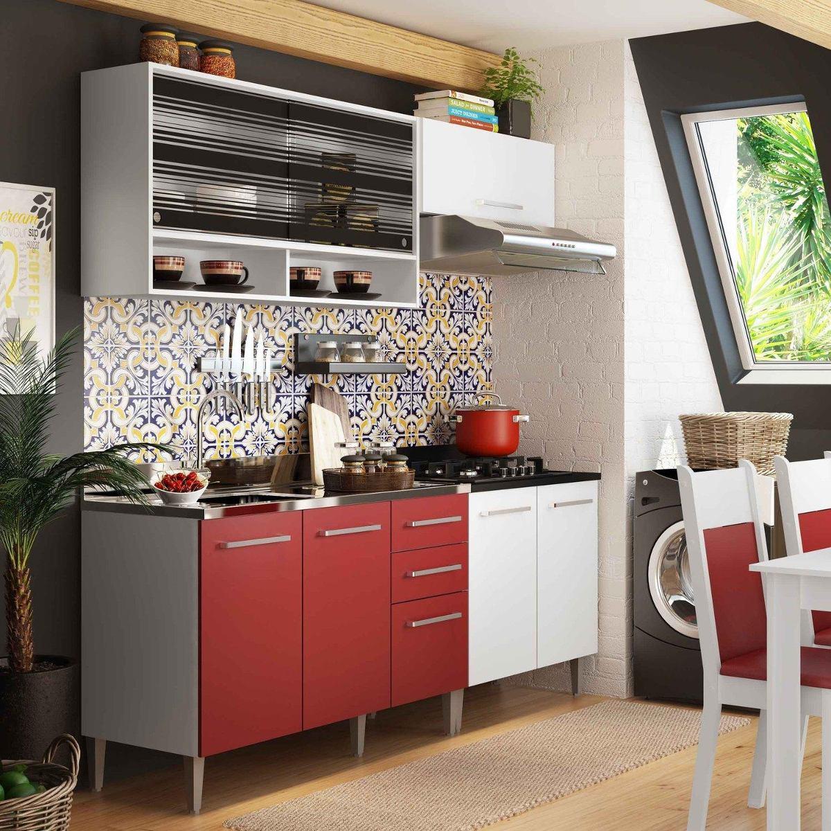 Cozinha Compacta Madesa Glamy Elis Anis Sem Tampo Branc D R 949
