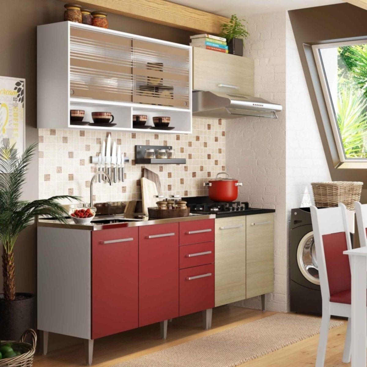 Cozinha Compacta Madesa Glamy Elis Branco Tirol Vermelho R 949