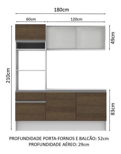 cozinha compacta madesa topazio com balcão e tampo