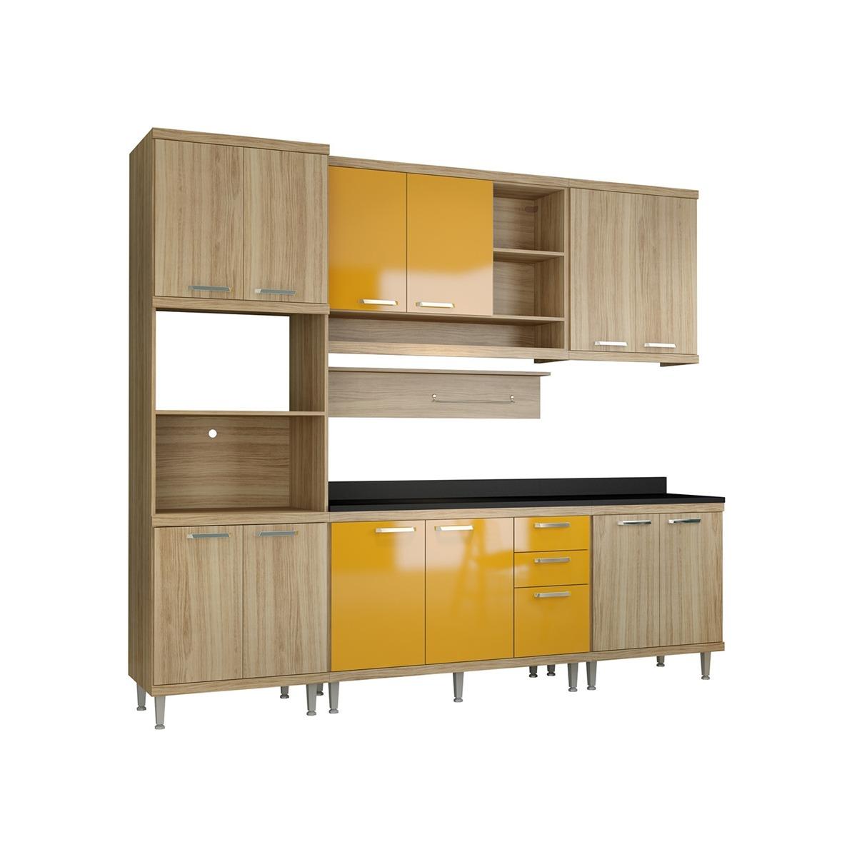 Cozinha Compacta Sic Lia 7 Pe As Argila Amarelo Multim Veis R