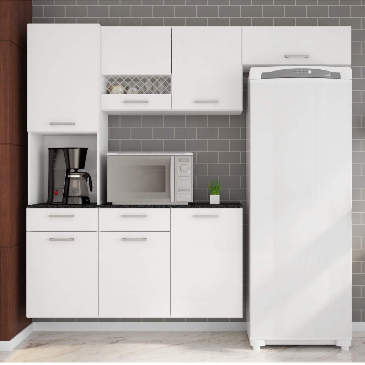 Cozinha Compacta Suspensa Em L Balc O Com Tampo 3 Ij R 519 90 Em