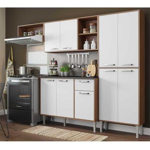 cozinha compacta xangai 9 portas multimóveis nogueira/branco