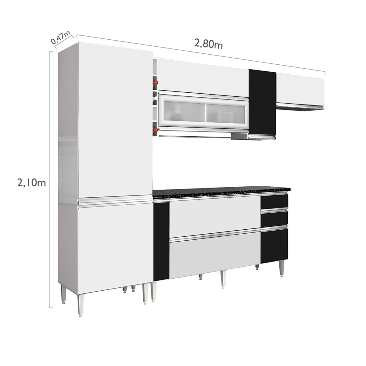 Cozinha Completa 4 Pe As Bano Chf Branco Preto Cfwt R 1 199 90