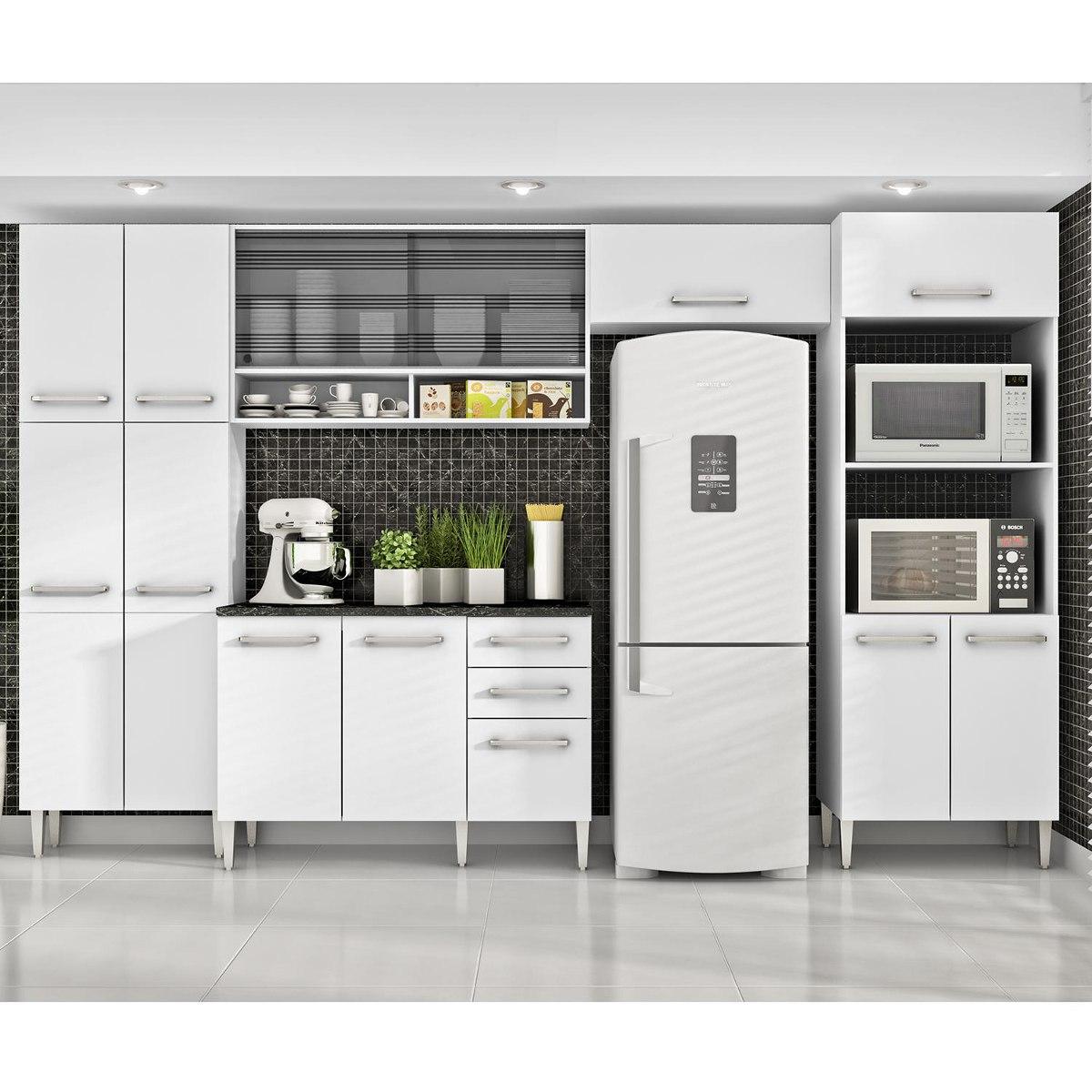 Cozinha Completa 5 Pe As Iris Glamy Madesa Branco Vid Hc R 1 999