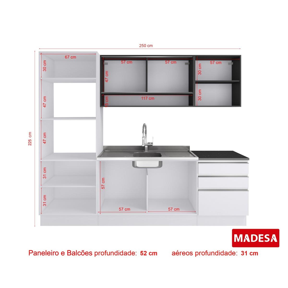 Cozinha Completa Angela Glamy Madesa Branco Preto Ciwt R 1 612