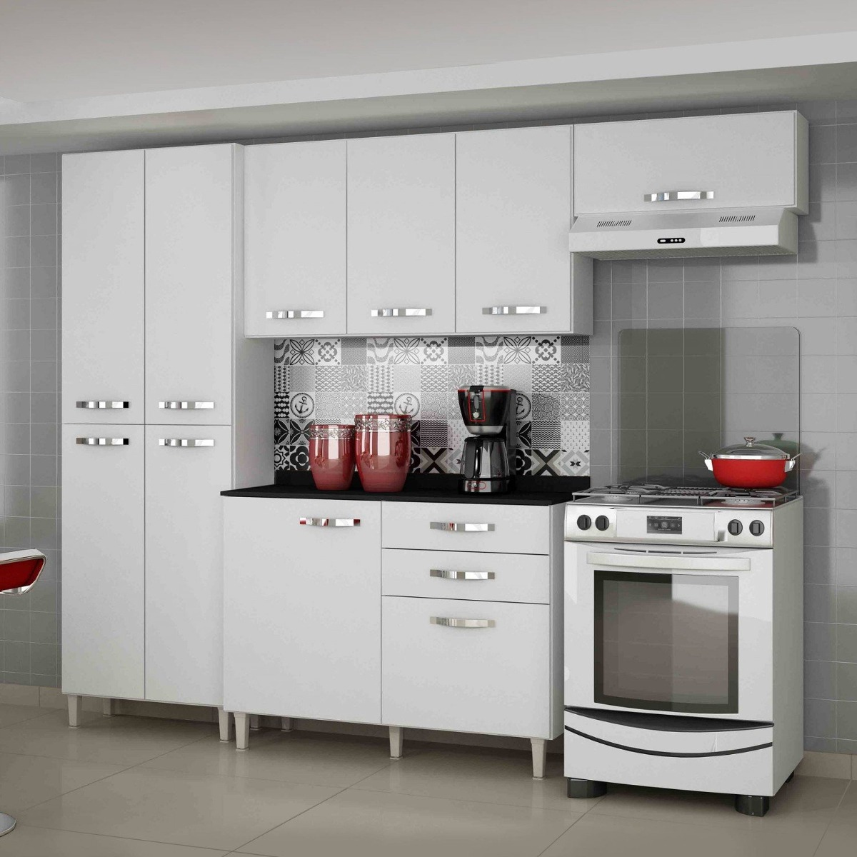 Cozinha Completa Balc O Com Tampo 4 Pe As Azal Ia He R 849 90 Em