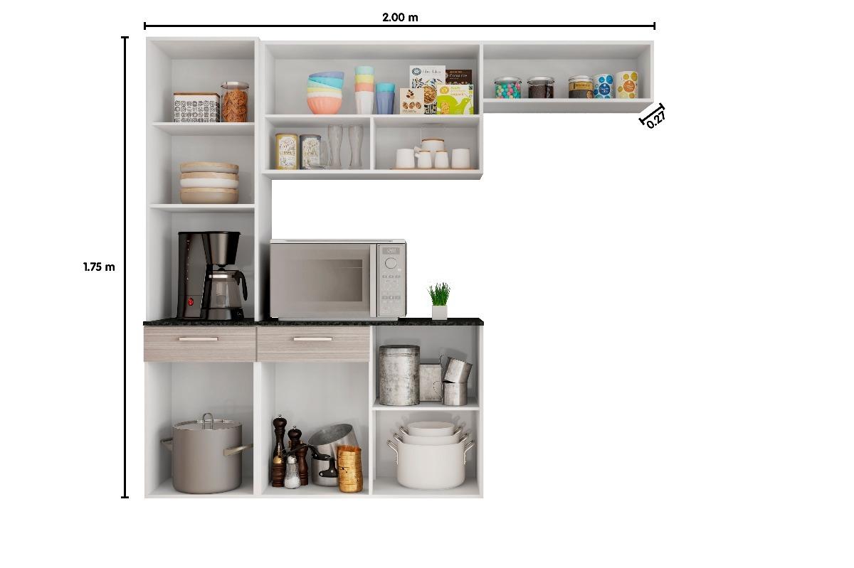 Cozinha Completa Balc O Com Tampo Suspensa Branco Poliman R 489